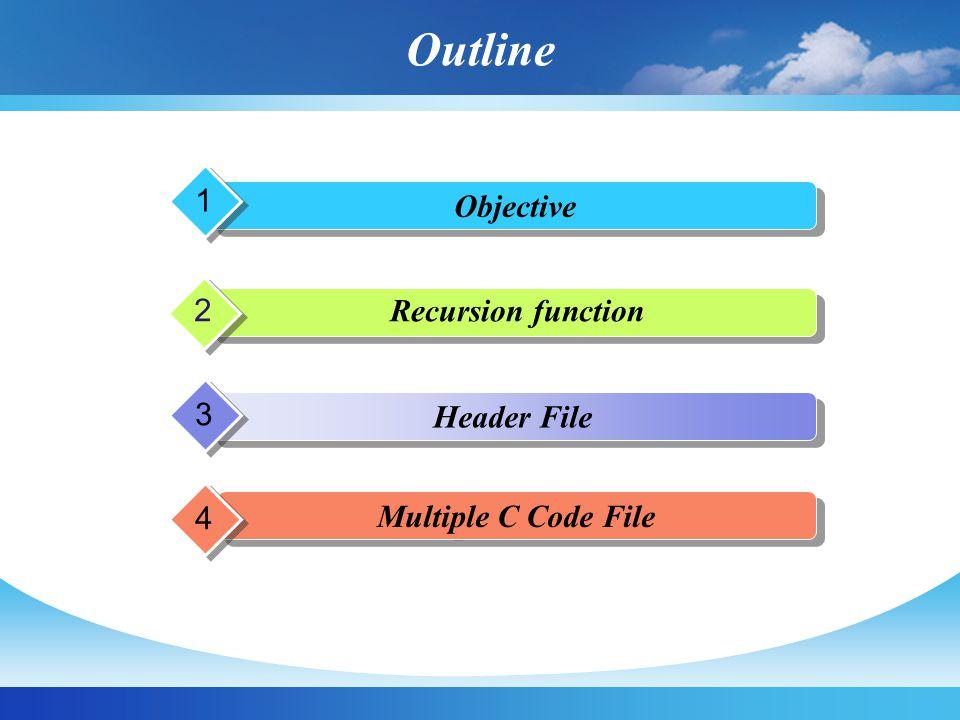 objectives เพื่อให้นิสิตเข้าใจฟังก์ชันที่เรียกตัวเองซ้ำ ได้ (recursive function) เพื่อให้นิสิตเข้าใจและสามารถใช้งาน ฟังก์ชันใน Header file จากภายนอกได้ เพื่อให้นิสิตเข้าใจและสามารถเขียน header file ของตัวเองได้