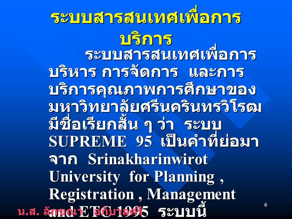 6 ระบบสารสนเทศเพื่อการ บริการ ระบบสารสนเทศเพื่อการ บริหาร การจัดการ และการ บริการคุณภาพการศึกษาของ มหาวิทยาลัยศรีนครินทรวิโรฒ มีชื่อเรียกสั้น ๆ ว่า ระบบ SUPREME 95 เป็นคำที่ย่อมา จาก Srinakharinwirot University for Planning, Registration, Management and ETC 1995 ระบบนี้ พัฒนาขึ้นโดยอาศัยเทคโนโลยี ระบบจัดการฐานข้อมูล ระบบสารสนเทศเพื่อการ บริหาร การจัดการ และการ บริการคุณภาพการศึกษาของ มหาวิทยาลัยศรีนครินทรวิโรฒ มีชื่อเรียกสั้น ๆ ว่า ระบบ SUPREME 95 เป็นคำที่ย่อมา จาก Srinakharinwirot University for Planning, Registration, Management and ETC 1995 ระบบนี้ พัฒนาขึ้นโดยอาศัยเทคโนโลยี ระบบจัดการฐานข้อมูล น.