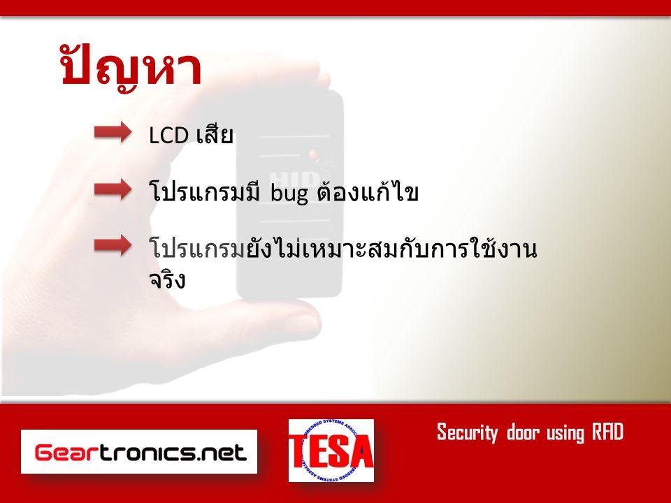 ทำส่วนแสดงผล LCD ปรับปรุงเอกสารให้ง่ายต่อการทำความ เข้าใจยิ่งขึ้น งานที่ต้องทำต่อไป Security door using RFID ปรับปรุงโค๊ดให้ง่ายต่อการทำความ เข้าใจยิ่งขึ้น ทำส่วนเก็บข้อมูลด้วย SD Card ( หากมี เวลา )