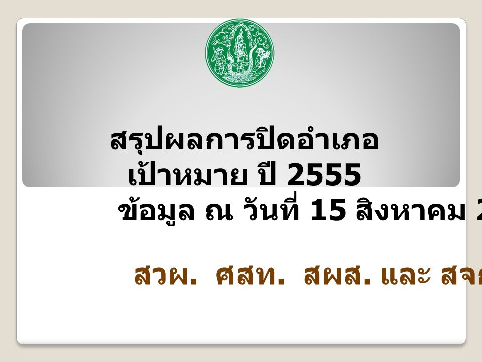 สรุปผลการปิดอำเภอ เป้าหมาย ปี 2555 ข้อมูล ณ วันที่ 15 สิงหาคม 2557 สวผ. ศสท. สผส. และ สจก.