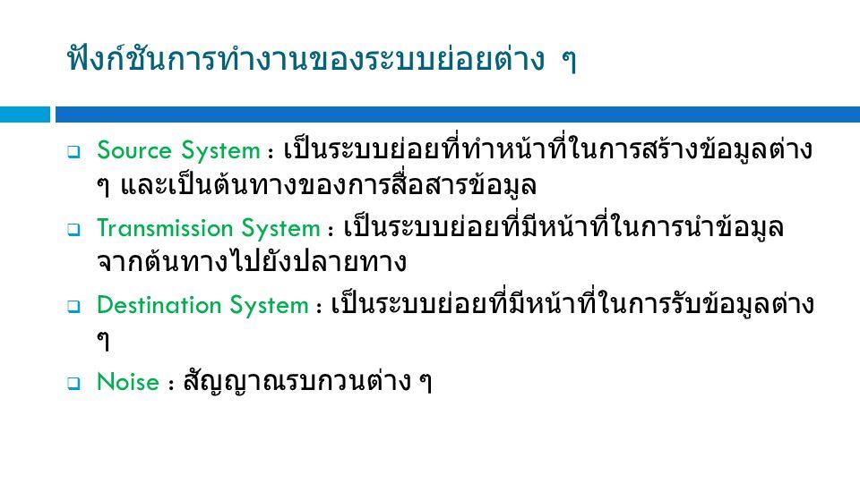 ฟังก์ชันการทำงานของระบบย่อยต่าง ๆ  Source System : เป็นระบบย่อยที่ทำหน้าที่ในการสร้างข้อมูลต่าง ๆ และเป็นต้นทางของการสื่อสารข้อมูล  Transmission System : เป็นระบบย่อยที่มีหน้าที่ในการนำข้อมูล จากต้นทางไปยังปลายทาง  Destination System : เป็นระบบย่อยที่มีหน้าที่ในการรับข้อมูลต่าง ๆ  Noise : สัญญาณรบกวนต่าง ๆ