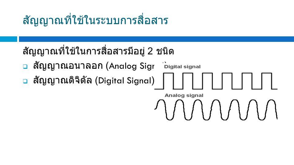 สัญญาณที่ใช้ในระบบการสื่อสาร สัญญาณที่ใช้ในการสื่อสารมีอยู่ 2 ชนิด  สัญญาณอนาลอก (Analog Signal)  สัญญาณดิจิตัล (Digital Signal)