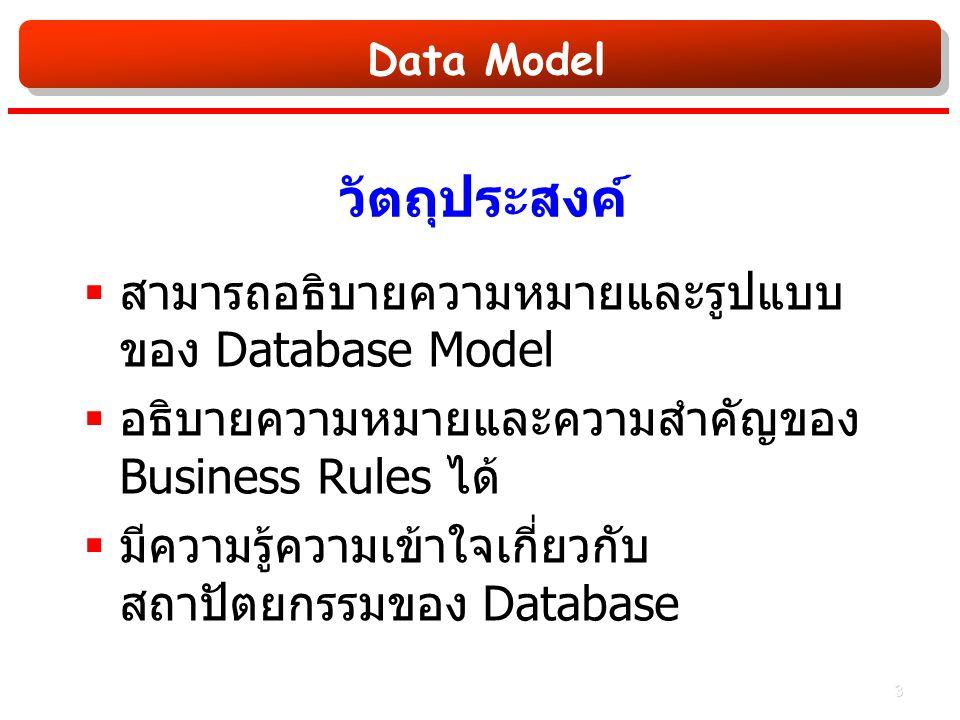 Data Model วัตถุประสงค์  สามารถอธิบายความหมายและรูปแบบ ของ Database Model  อธิบายความหมายและความสำคัญของ Business Rules ได้  มีความรู้ความเข้าใจเกี่ยวกับ สถาปัตยกรรมของ Database 3