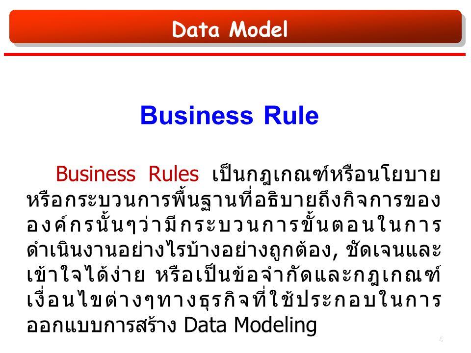Data Model Business Rule Business Rules เป็นกฎเกณฑ์หรือนโยบาย หรือกระบวนการพื้นฐานที่อธิบายถึงกิจการของ องค์กรนั้นๆว่ามีกระบวนการขั้นตอนในการ ดำเนินงานอย่างไรบ้างอย่างถูกต้อง, ชัดเจนและ เข้าใจได้ง่าย หรือเป็นข้อจำกัดและกฎเกณฑ์ เงื่อนไขต่างๆทางธุรกิจที่ใช้ประกอบในการ ออกแบบการสร้าง Data Modeling 4