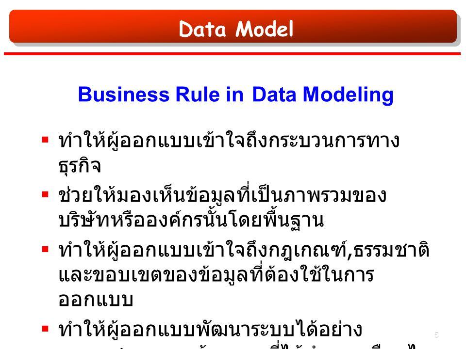 Data Model Business Rule in Data Modeling  ทำให้ผู้ออกแบบเข้าใจถึงกระบวนการทาง ธุรกิจ  ช่วยให้มองเห็นข้อมูลที่เป็นภาพรวมของ บริษัทหรือองค์กรนั้นโดยพื้นฐาน  ทำให้ผู้ออกแบบเข้าใจถึงกฎเกณฑ์, ธรรมชาติ และขอบเขตของข้อมูลที่ต้องใช้ในการ ออกแบบ  ทำให้ผู้ออกแบบพัฒนาระบบได้อย่าง เหมาะสมและถูกต้องตามที่ได้กำหนดเงือนไข ต่างๆเอาไว้ 5