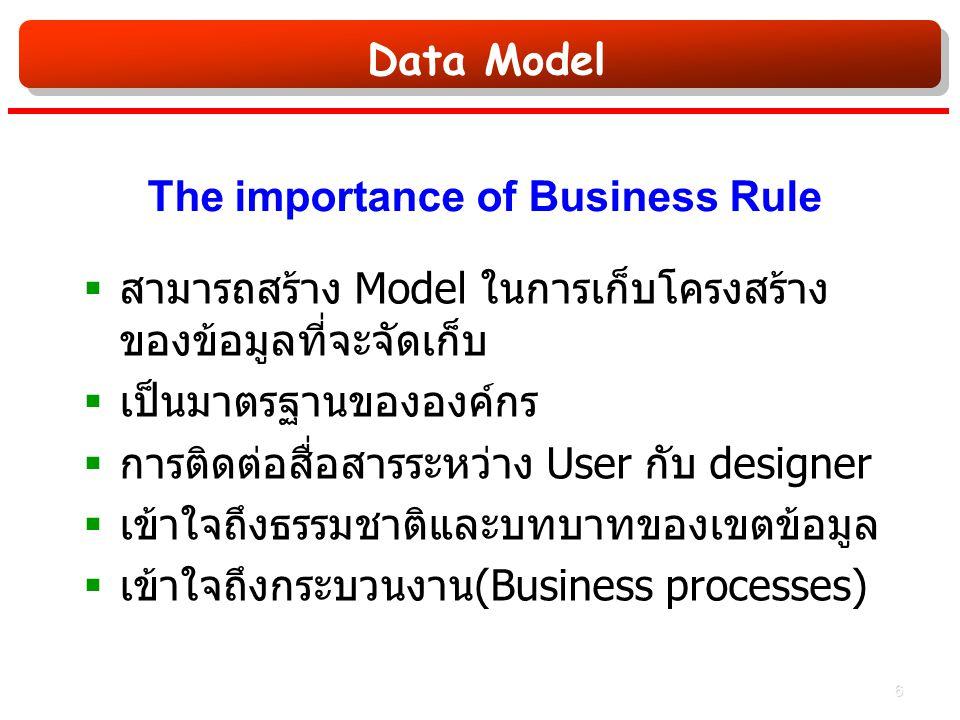 Data Model The importance of Business Rule  สามารถสร้าง Model ในการเก็บโครงสร้าง ของข้อมูลที่จะจัดเก็บ  เป็นมาตรฐานขององค์กร  การติดต่อสื่อสารระหว่าง User กับ designer  เข้าใจถึงธรรมชาติและบทบาทของเขตข้อมูล  เข้าใจถึงกระบวนงาน (Business processes) 6