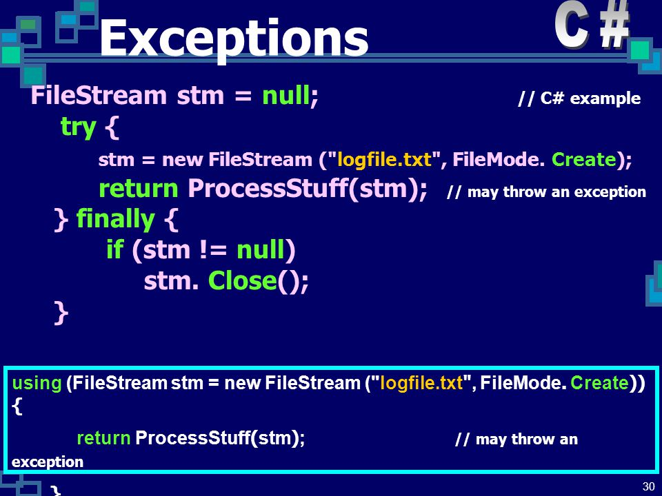 29 Exceptions Modern languages have a structured construct for exception handling which does not rely on the use of GOTO: try { xxx1 // Somewhere in here xxx2 // use: throw someValue; xxx3 } catch (someClass & someId) { // catch value of someClass actionForSomeClass } catch (someType & anotherId) { // catch value of someType actionForSomeType } catch (...) { // catch anything not already caught actionForAnythingElse }