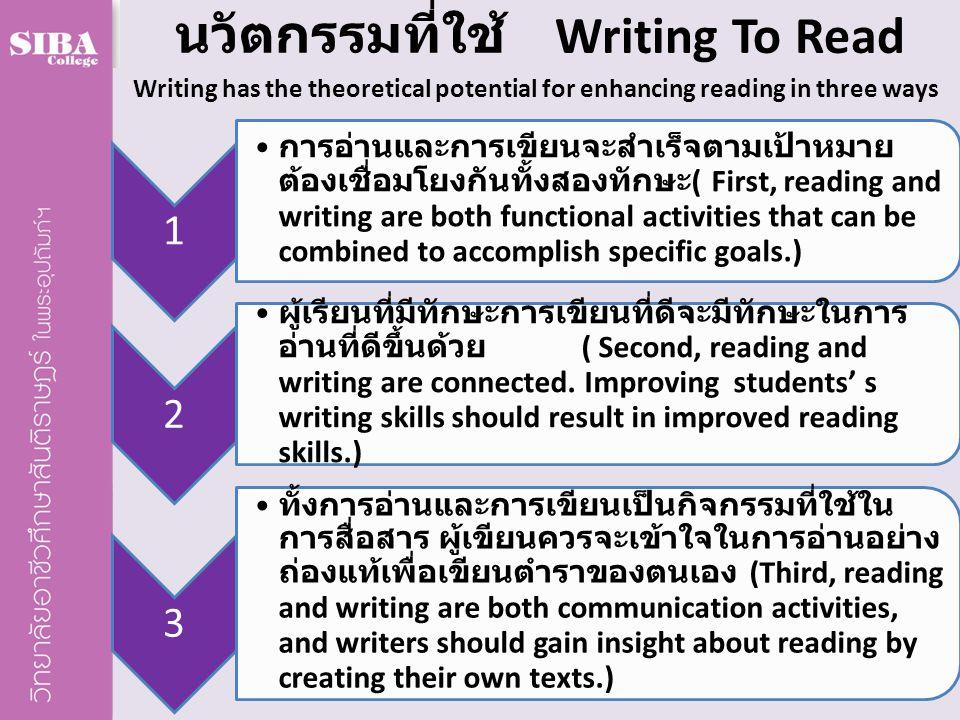 นวัตกรรมที่ใช้ Writing To Read Writing has the theoretical potential for enhancing reading in three ways 1 การอ่านและการเขียนจะสำเร็จตามเป้าหมาย ต้องเ