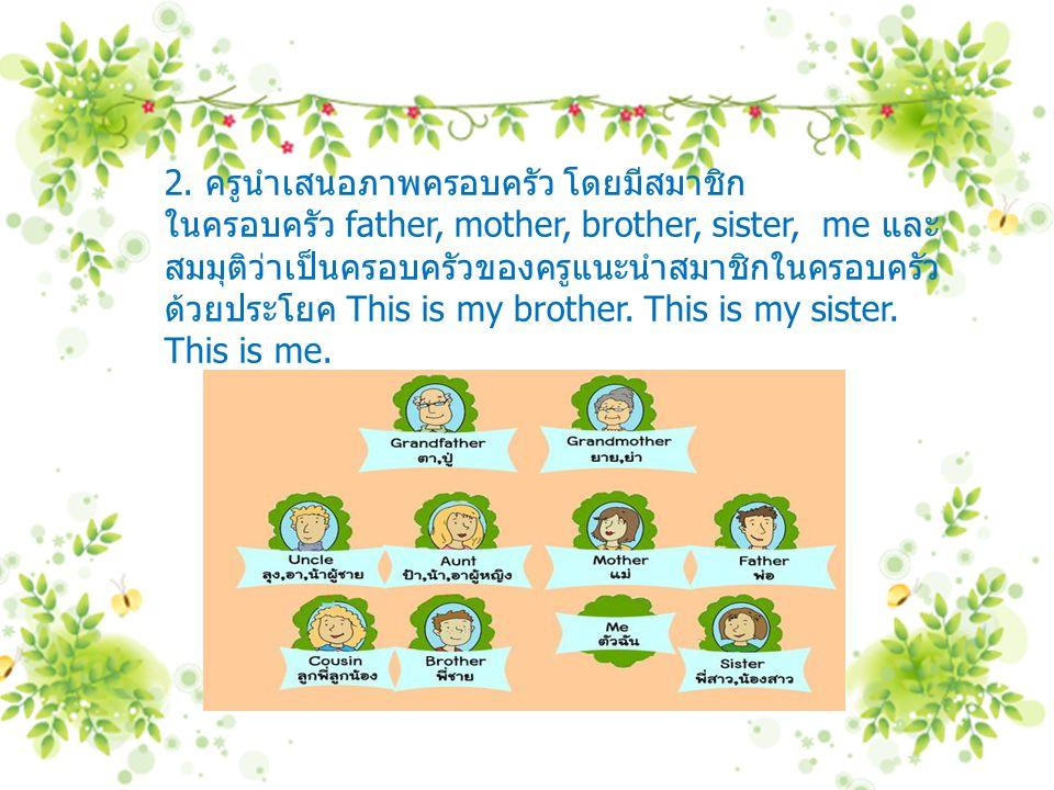 2. ครูนำเสนอภาพครอบครัว โดยมีสมาชิก ในครอบครัว father, mother, brother, sister, me และ สมมุติว่าเป็นครอบครัวของครูแนะนำสมาชิกในครอบครัว ด้วยประโยค Thi