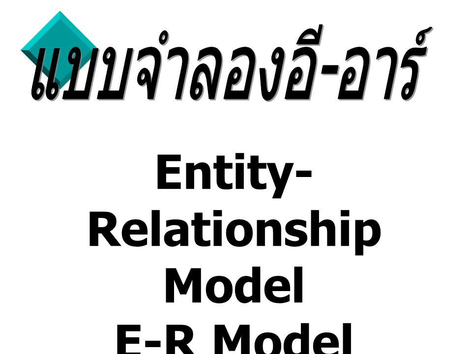 2 โมเดลข้อมูลแบบ E-R (Entity- Relationship Model) เป็น โมเดลข้อมูลเชิง ความคิดที่ได้รับความนิยม ซึ่งเป็นโมเดลที่ ถูกแนะนำโดย Peter Chen ในปี 1979 วัตถุประสงค์เพื่อนำเสนอโครงสร้างของ ฐานข้อมูลในระบบแนวความคิดในลักษณะ แผนภาพ (diagram) โดยเน้นโครงสร้างที่ ง่ายต่อการทำความเข้าใจ สามารถมองเห็น ภาพรวมของเอนทิตี้ทั้งหมดในระบบ รวมถึง ความสัมพันธ์ระหว่างเอนทิตี้เหล่านนั้นด้วย แบบจำลองอี - อาร์