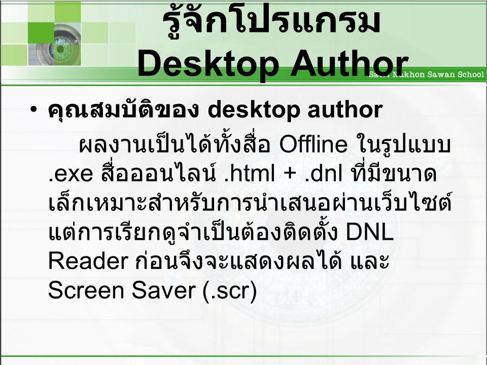 รู้จักโปรแกรม Desktop Author การเข้าสู่โปรแกรม desktop author