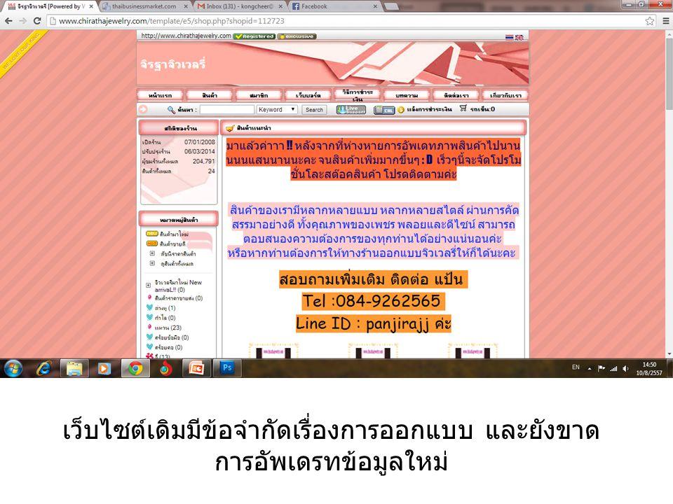 เว็บไซต์เดิมมีข้อจำกัดเรื่องการออกแบบ และยังขาด การอัพเดรทข้อมูลใหม่