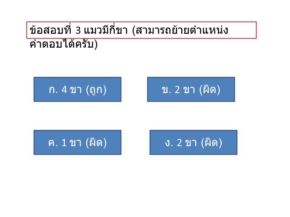 ข้อสอบที่ 3 แมวมีกี่ขา ( สามารถย้ายตำแหน่ง คำตอบได้ครับ ) ก. 4 ขา ( ถูก ) ค. 1 ขา ( ผิด ) ข. 2 ขา ( ผิด ) ง. 2 ขา ( ผิด )