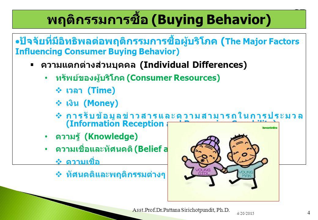  ปัจจัยที่มีอิทธิพลต่อพฤติกรรมการซื้อผู้บริโภค ( The Major Factors Influencing Consumer Buying Behavior)  ความแตกต่างส่วนบุคคล (Individual Differenc