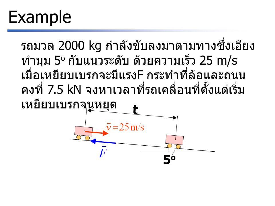 Example รถมวล 2000 kg กำลังขับลงมาตามทางซึ่งเอียง ทำมุม 5 o กับแนวระดับ ด้วยความเร็ว 25 m/s เมื่อเหยียบเบรกจะมีแรง F กระทำที่ล้อและถนน คงที่ 7.5 kN จงหาเวลาที่รถเคลื่อนที่ตั้งแต่เริ่ม เหยียบเบรกจนหยุด 5o5o t