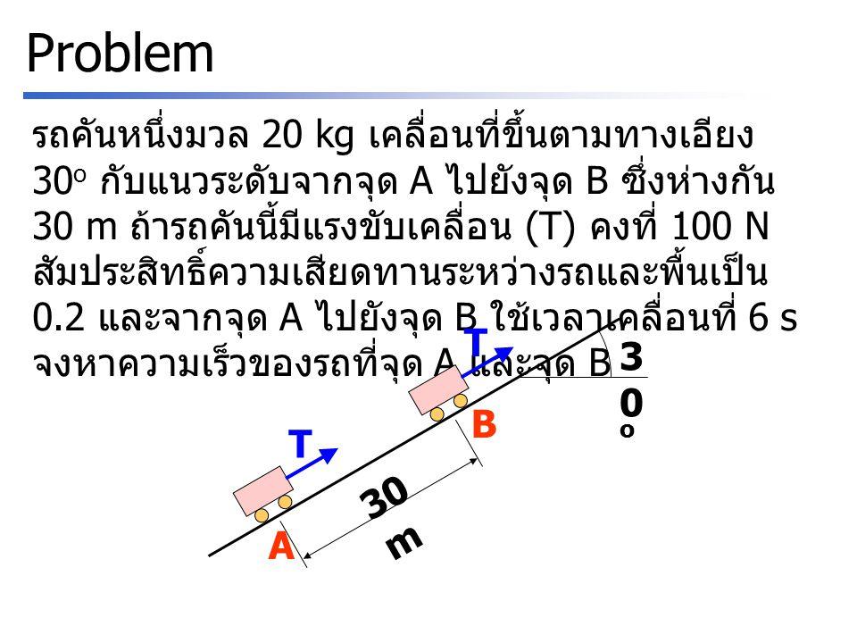 Problem รถคันหนึ่งมวล 20 kg เคลื่อนที่ขึ้นตามทางเอียง 30 o กับแนวระดับจากจุด A ไปยังจุด B ซึ่งห่างกัน 30 m ถ้ารถคันนี้มีแรงขับเคลื่อน (T) คงที่ 100 N สัมประสิทธิ์ความเสียดทานระหว่างรถและพื้นเป็น 0.2 และจากจุด A ไปยังจุด B ใช้เวลาเคลื่อนที่ 6 s จงหาความเร็วของรถที่จุด A และจุด B T T A B 30 m 30o30o