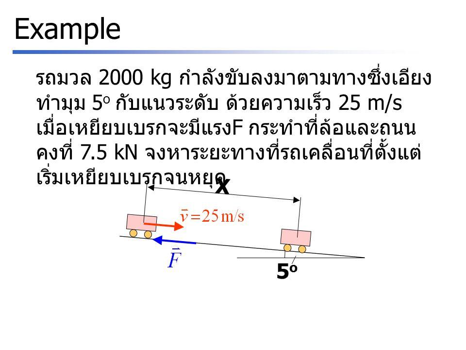 Example รถมวล 2000 kg กำลังขับลงมาตามทางซึ่งเอียง ทำมุม 5 o กับแนวระดับ ด้วยความเร็ว 25 m/s เมื่อเหยียบเบรกจะมีแรง F กระทำที่ล้อและถนน คงที่ 7.5 kN จงหาระยะทางที่รถเคลื่อนที่ตั้งแต่ เริ่มเหยียบเบรกจนหยุด 5o5o X