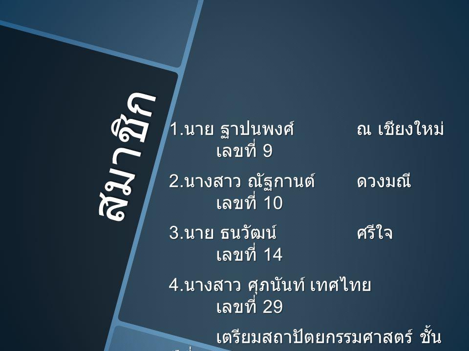 สมาชิก 1. นาย ฐาปนพงศ์ณ เชียงใหม่ เลขที่ 9 2. นางสาว ณัฐกานต์ดวงมณี เลขที่ 10 3. นาย ธนวัฒน์ศรีใจ เลขที่ 14 4. นางสาว ศุภนันท์เทศไทย เลขที่ 29 เตรียมส
