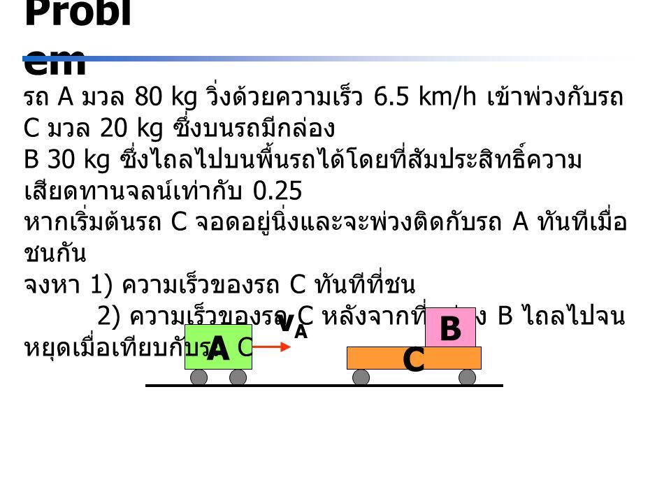 C A Probl em รถ A มวล 80 kg วิ่งด้วยความเร็ว 6.5 km/h เข้าพ่วงกับรถ C มวล 20 kg ซึ่งบนรถมีกล่อง B 30 kg ซึ่งไถลไปบนพื้นรถได้โดยที่สัมประสิทธิ์ความ เสี