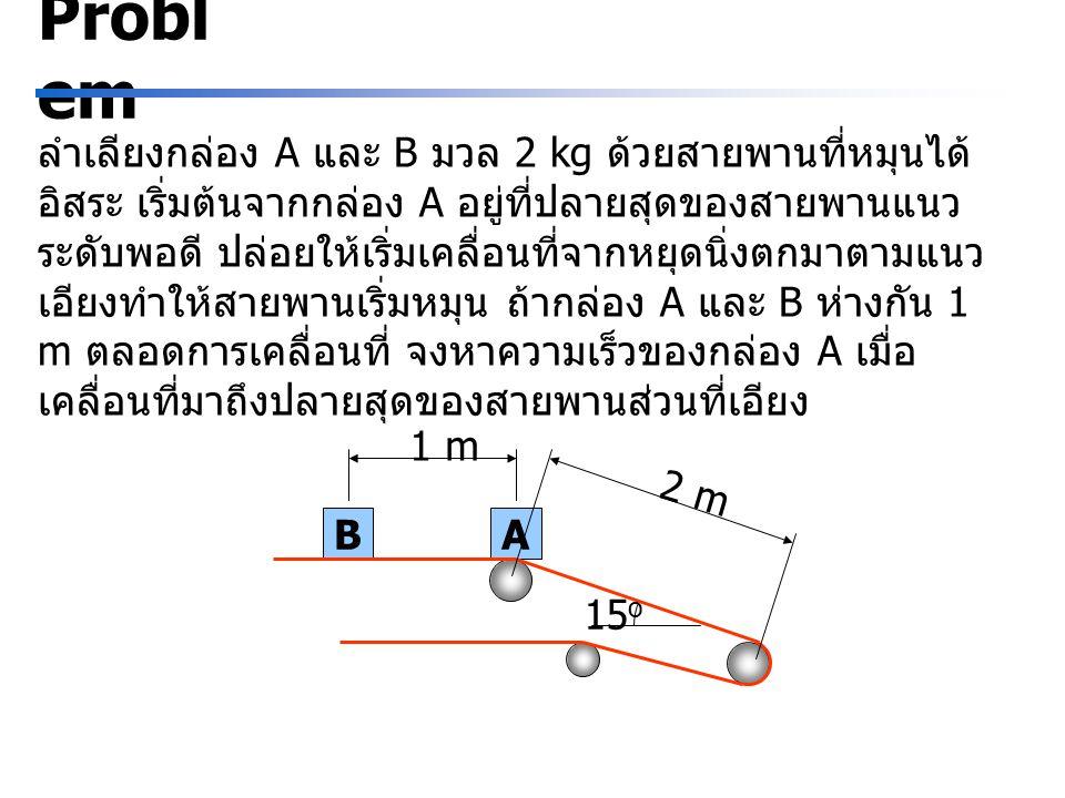 BA Probl em ลำเลียงกล่อง A และ B มวล 2 kg ด้วยสายพานที่หมุนได้ อิสระ เริ่มต้นจากกล่อง A อยู่ที่ปลายสุดของสายพานแนว ระดับพอดี ปล่อยให้เริ่มเคลื่อนที่จากหยุดนิ่งตกมาตามแนว เอียงทำให้สายพานเริ่มหมุน ถ้ากล่อง A และ B ห่างกัน 1 m ตลอดการเคลื่อนที่ จงหาความเร็วของกล่อง A เมื่อ เคลื่อนที่มาถึงปลายสุดของสายพานส่วนที่เอียง 1 m 2 m 15 o