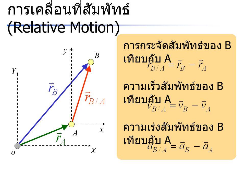 การเคลื่อนที่สัมพัทธ์ (Relative Motion) A X Y o B x y การกระจัดสัมพัทธ์ของ B เทียบกับ A ความเร็วสัมพัทธ์ของ B เทียบกับ A ความเร่งสัมพัทธ์ของ B เทียบกั