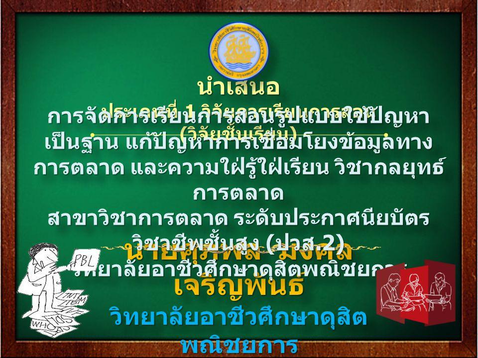 Supapol M. นายศุภพล มงคล เจริญพันธ์ วิทยาลัยอาชีวศึกษาดุสิต พณิชยการ นายศุภพล มงคล เจริญพันธ์ วิทยาลัยอาชีวศึกษาดุสิต พณิชยการ นำเสนอ ประเภทที่ 1 วิจั