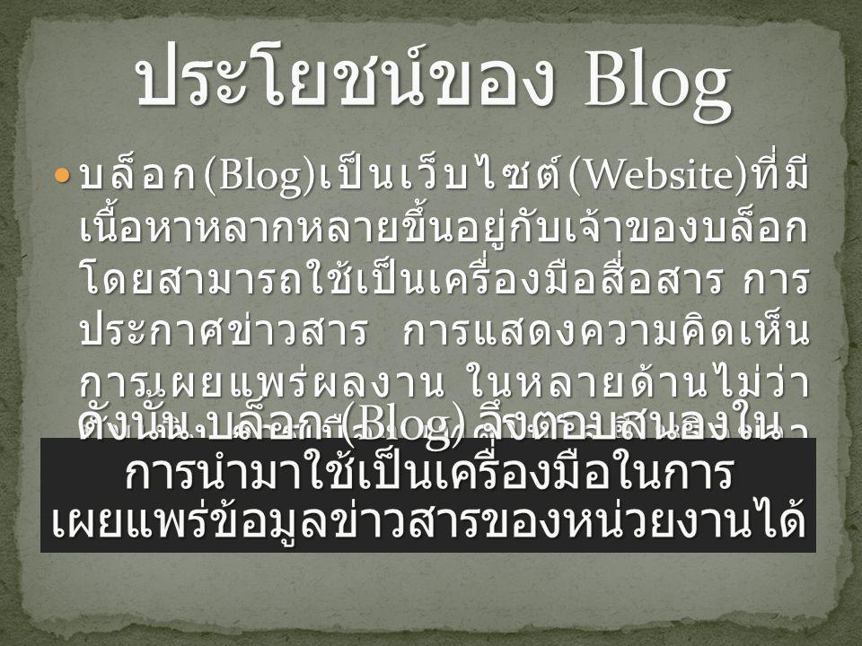 บล็อก (Blog) เป็นเว็บไซต์ (Website) ที่มี เนื้อหาหลากหลายขึ้นอยู่กับเจ้าของบล็อก โดยสามารถใช้เป็นเครื่องมือสื่อสาร การ ประกาศข่าวสาร การแสดงความคิดเห็น การเผยแพร่ผลงาน ในหลายด้านไม่ว่า บันเทิง การเมือง เทคโนโลยี หรือข่าว ปัจจุบัน ฯลฯ บล็อก (Blog) เป็นเว็บไซต์ (Website) ที่มี เนื้อหาหลากหลายขึ้นอยู่กับเจ้าของบล็อก โดยสามารถใช้เป็นเครื่องมือสื่อสาร การ ประกาศข่าวสาร การแสดงความคิดเห็น การเผยแพร่ผลงาน ในหลายด้านไม่ว่า บันเทิง การเมือง เทคโนโลยี หรือข่าว ปัจจุบัน ฯลฯ