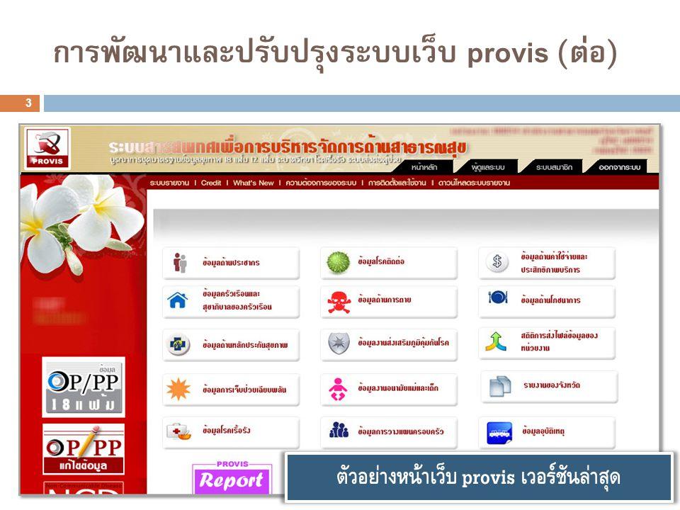 3 การพัฒนาและปรับปรุงระบบเว็บ provis (ต่อ) ตัวอย่างหน้าเว็บ provis เวอร์ชันล่าสุด