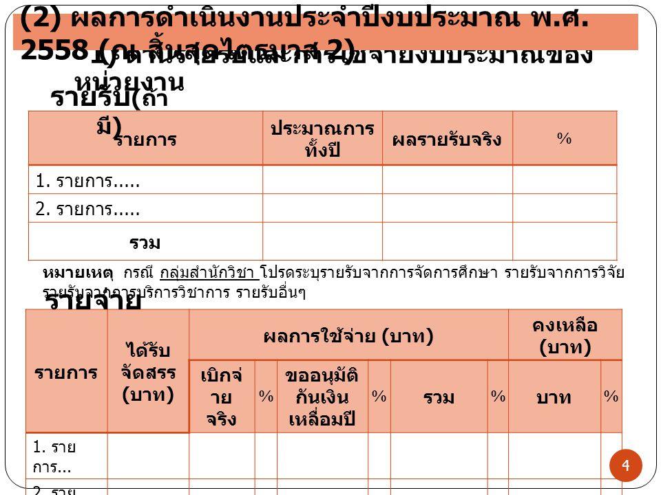 4 1) ด้านรายรับและการใช้จ่ายงบประมาณของ หน่วยงาน รายการ ประมาณการ ทั้งปี ผลรายรับจริง % 1. รายการ..... 2. รายการ..... รวม รายการ ได้รับ จัดสรร ( บาท )