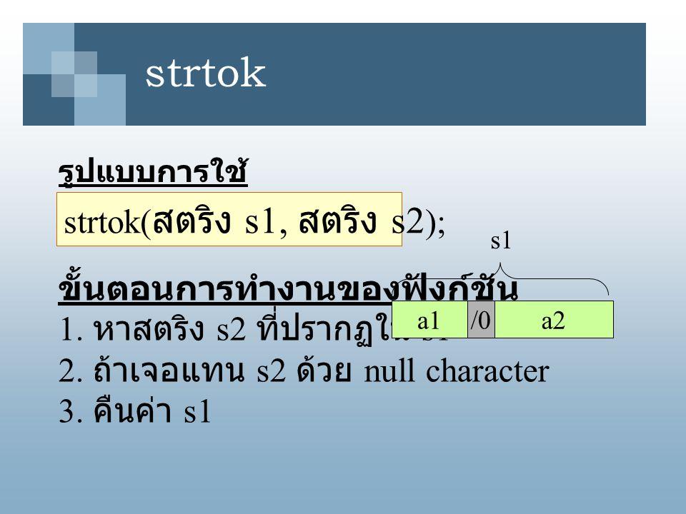 strtok รูปแบบการใช้ strtok( สตริง s1, สตริง s2 ); ขั้นตอนการทำงานของฟังก์ชัน 1. หาสตริง s2 ที่ปรากฏใน s1 2. ถ้าเจอแทน s2 ด้วย null character 3. คืนค่า