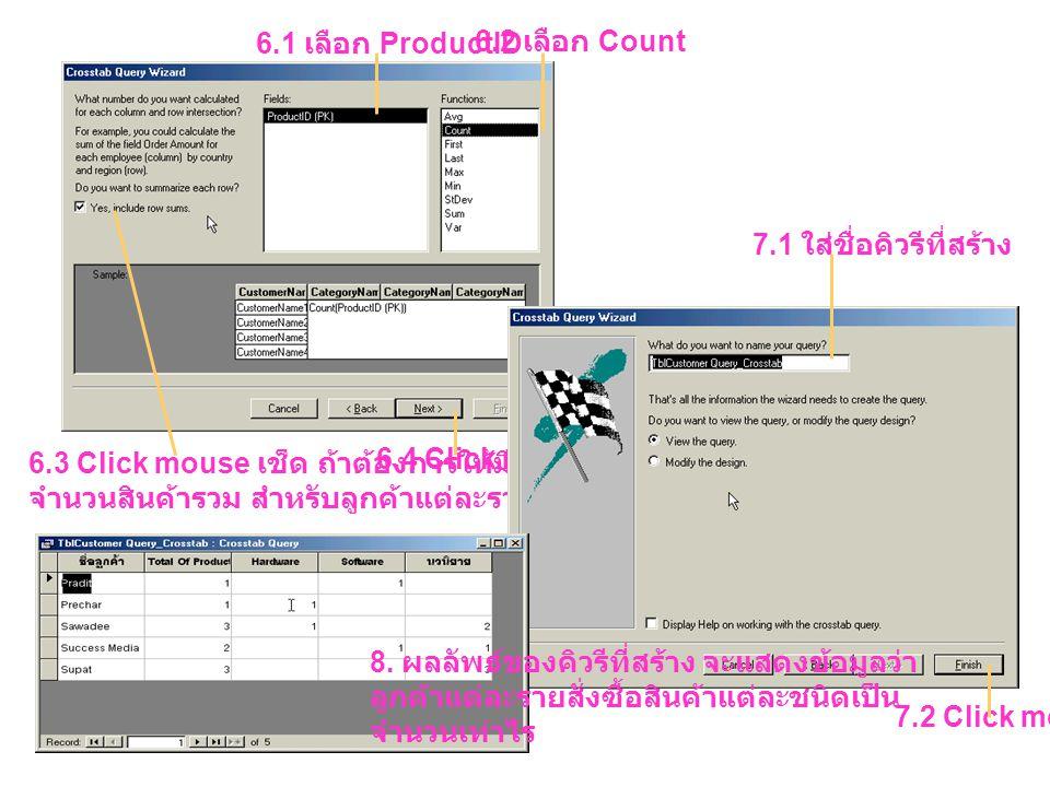 6.1 เลือก ProductID 6.2 เลือก Count 6.3 Click mouse เช็ด ถ้าต้องการให้มีการนับ จำนวนสินค้ารวม สำหรับลูกค้าแต่ละราย 6.4 Click mouse 7.1 ใส่ชื่อคิวรีที่สร้าง 7.2 Click mouse 8.
