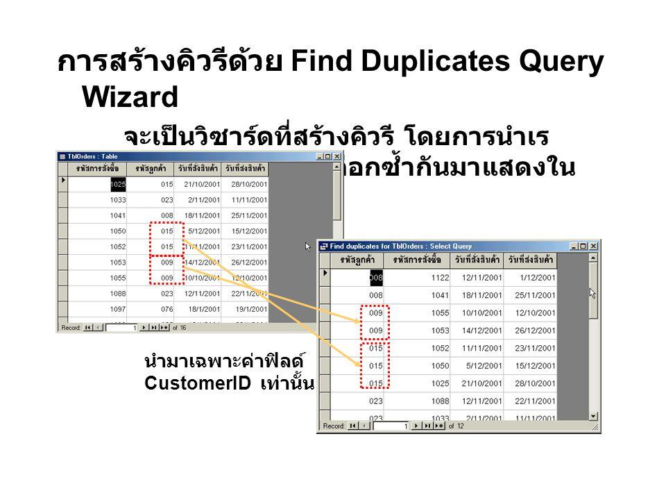 การสร้างคิวรีด้วย Find Duplicates Query Wizard จะเป็นวิซาร์ดที่สร้างคิวรี โดยการนำเร คอร์ดที่มีค่าฟิลด์ที่เราเลือกซ้ำกันมาแสดงใน คิวรีผลลัพธ์ ดังรูป นำมาเฉพาะค่าฟิลด์ CustomerID เท่านั้น