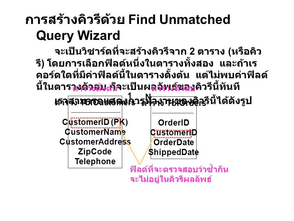 การสร้างคิวรีด้วย Find Unmatched Query Wizard จะเป็นวิซาร์ดที่จะสร้างคิวรีจาก 2 ตาราง ( หรือคิว รี ) โดยการเลือกฟิลด์หนึ่งในตารางทั้งสอง และถ้าเร คอร์ดใดที่มีค่าฟิลด์นี้ในตารางตั้งต้น แต่ไม่พบค่าฟิลด์ นี้ในตารางตัวลบ ก็จะเป็นผลลัพธ์ของคิวรีนี้ทันที เราสามารถแสดงการทำงานของคิวรีนี้ได้ดังรูป ตาราง TblCustomers CustomerID (PK) CustomerName CustomerAddress ZipCode Telephone ตาราง TblOrders OrderID CustomerID OrderDate ShippedDate ตารางตั้งต้นตารางตัวลบ 1 N ฟิลด์ที่จะตรวจสอบว่าซ้ำกัน จะไม่อยู่ในคิวรีผลลัพธ์