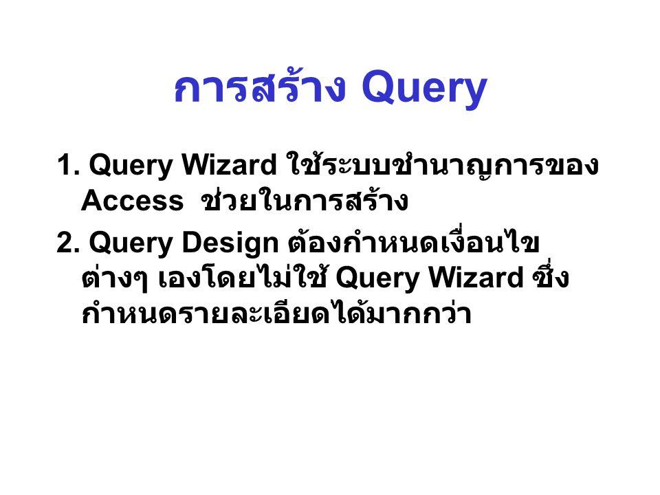 การสร้าง Query 1.Query Wizard ใช้ระบบชำนาญการของ Access ช่วยในการสร้าง 2.