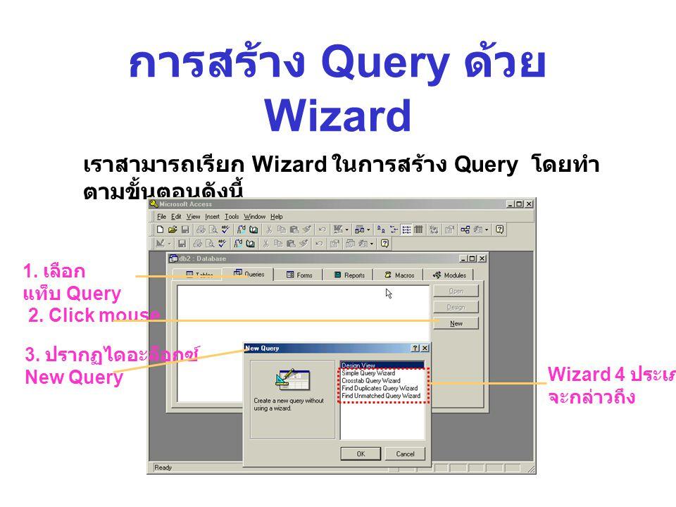 การสร้าง Query ด้วย Wizard เราสามารถเรียก Wizard ในการสร้าง Query โดยทำ ตามขั้นตอนดังนี้ 1.