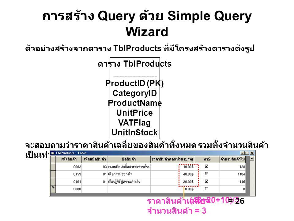 การสร้าง Query ด้วย Simple Query Wizard ตัวอย่างสร้างจากตาราง TblProducts ที่มีโครงสร้างตารางดังรูป จะสอบถามว่าราคาสินค้าเฉลี่ยของสินค้าทั้งหมด รวมทั้งจำนวนสินค้า เป็นเท่าไร ซึ่งแสดงความหมายได้ดังรูป ตาราง TblProducts ProductID (PK) CategoryID ProductName UnitPrice VATFlag UnitInStock ราคาสินค้าเฉลี่ย = จำนวนสินค้า = 3 (48+20+10)/3 = 26