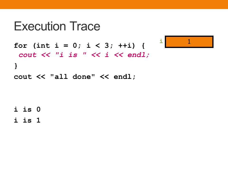 Execution Trace for (int i = 0; i < 3; ++i) { cout <<