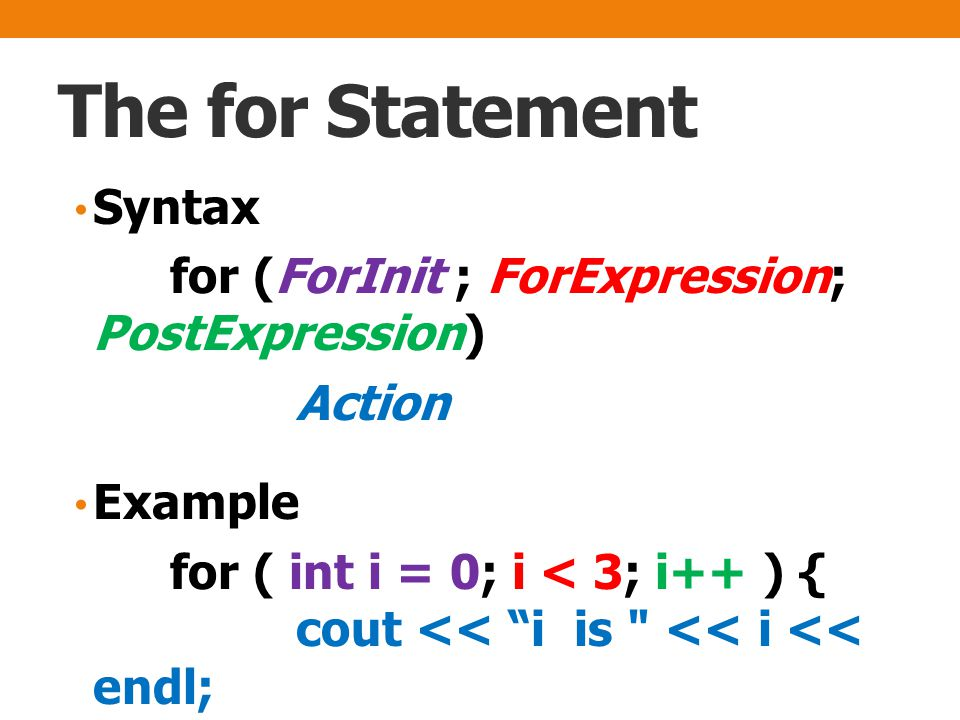 The for Statement Syntax for (ForInit ; ForExpression; PostExpression) Action Example for ( int i = 0; i < 3; i++ ) { cout << i is << i << endl; }