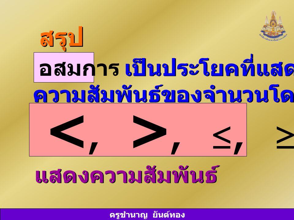ครูชำนาญ ยันต์ทอง เป็นประโยคที่แสดงถึง ความสัมพันธ์ของจำนวนโดยมีสัญลักษณ์ เป็นประโยคที่แสดงถึง ความสัมพันธ์ของจำนวนโดยมีสัญลักษณ์ สรุป อสมการ, ≤, ≥, ≠ แสดงความสัมพันธ์