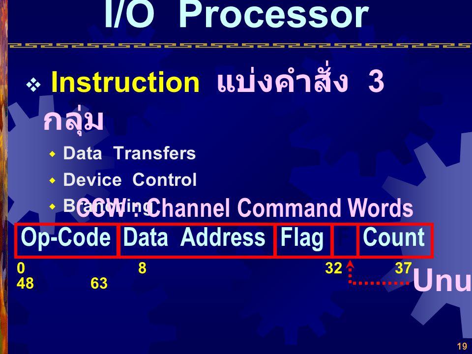 18 I/O Processor  Memory ใช้ Main Memory ร่วมกับ CPU ใช้การอ้างอิงด้วย 24 Bits โดยตรง  Registers ไม่มี Register โดยเฉพาะ แต่มี Program Counter และ D