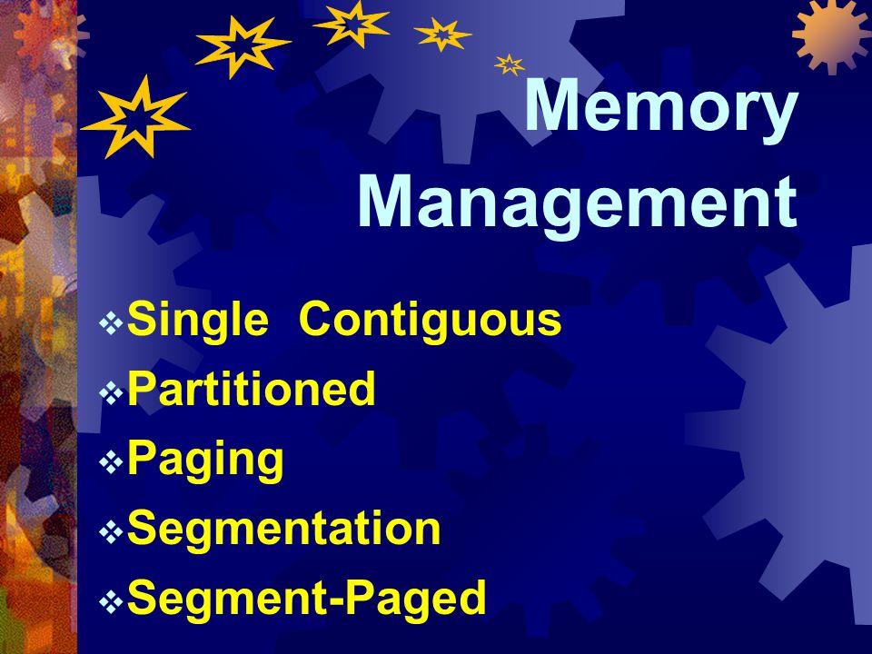 23 หัวข้อเรื่อง  I/O Programming  Memory Management  Processor Management  Device Management  Information Management Memory Management