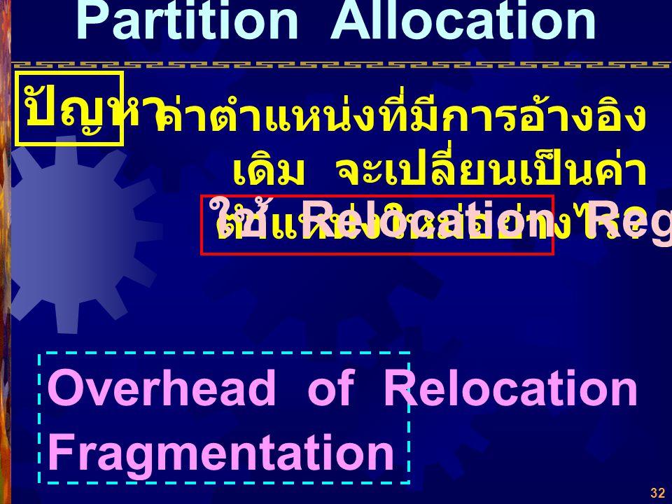 31  ขยับพื้นที่ได้ (Relocatable Partition) แบ่งพื้นที่เป็นส่วนๆ แต่สามารถขยับชิด กันได้ (Compact) JOB 1 JOB 3 JOB 6 พื้นที่ว่าง Process Queue SUPERVI