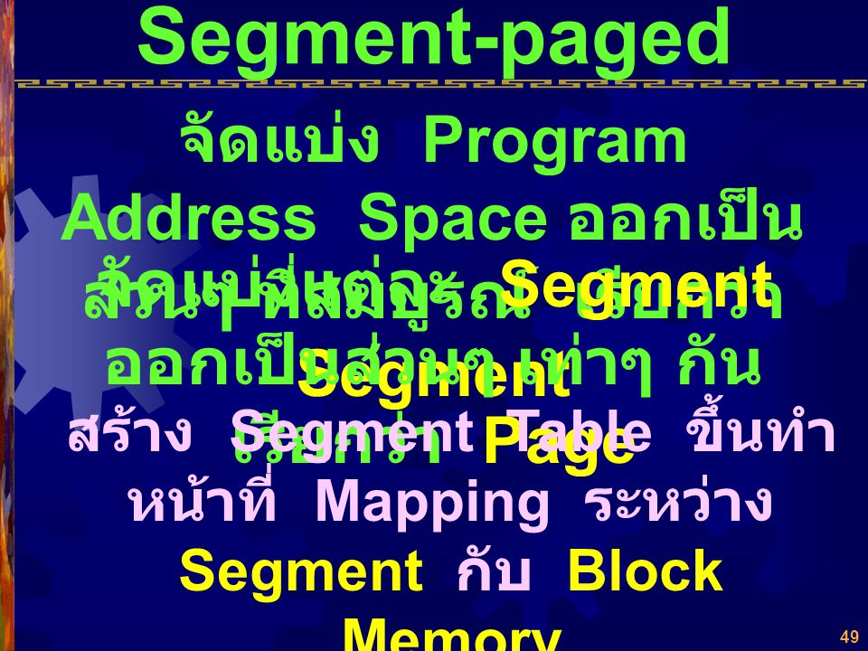 48 Schedule of Decision (Paging Algorithm Internal Fragmentation (Page-Breakage) ปัญหา Page Interrupt into Thrashing Demand Paged