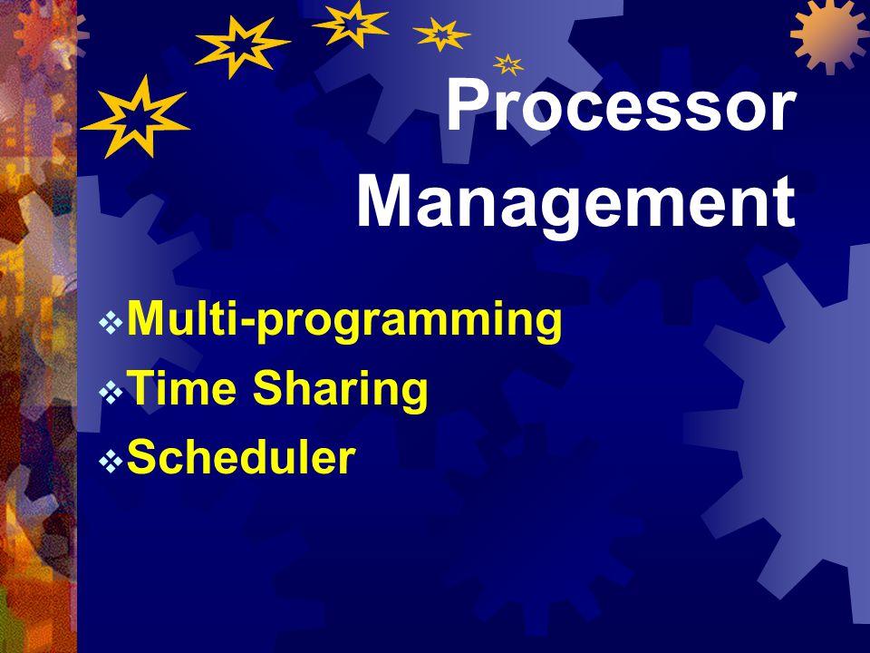 57 หัวข้อเรื่อง  I/O Programming  Memory Management  Processor Management  Device Management  Information Management Processor Management