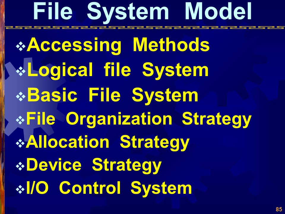 File System  File System Model  File Directory