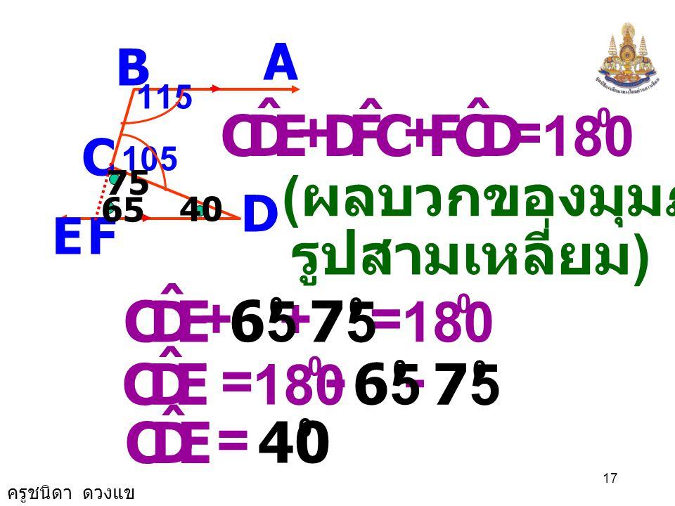 ครูชนิดา ดวงแข 16 A B C D E 115 105 F FCD ˆ += 180 0 105105 0 DCB ˆ FCD ˆ += 0 ( ขนาดของมุมตรง ) FCD ˆ = 180 0 105105 0 - FCD ˆ = 7575 0 75