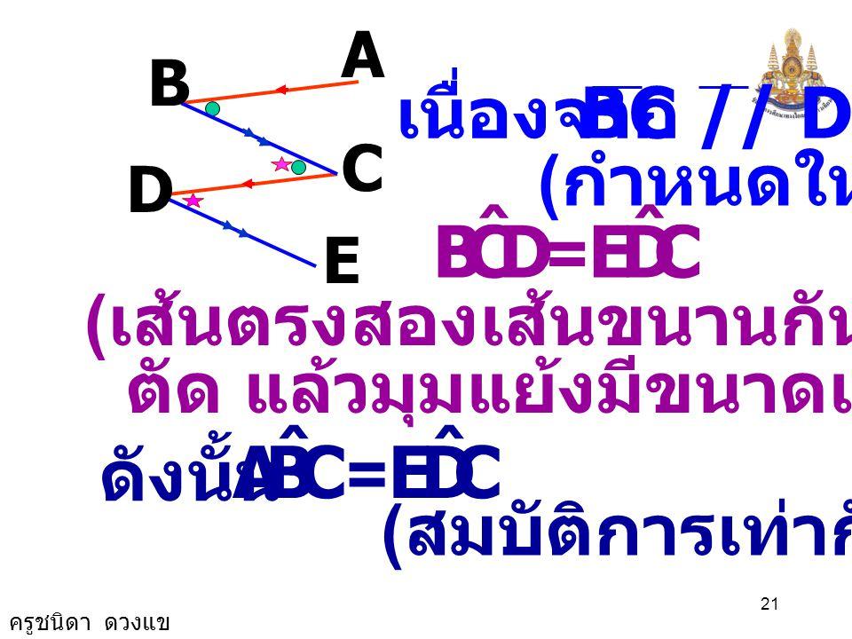 ครูชนิดา ดวงแข 20 พิสูจน์ AB // CD ( กำหนดให้ ) ( เส้นตรงสองเส้นขนานกันและมีเส้น ตัด แล้วมุมแย้งมีขนาดเท่ากัน ) CBA ˆ = BCD ˆ A B D C E