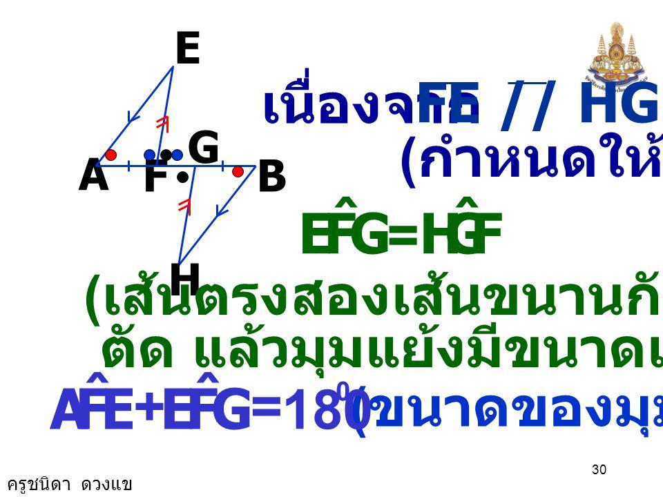 ครูชนิดา ดวงแข 29 A B G F E H พิสูจน์ AE // HB ( กำหนดให้ ) FAE ˆ = GBH ˆ ( เส้นตรงสองเส้นขนานกันและมีเส้น ตัด แล้วมุมแย้งมีขนาดเท่ากัน ) AF = BG ( กำ