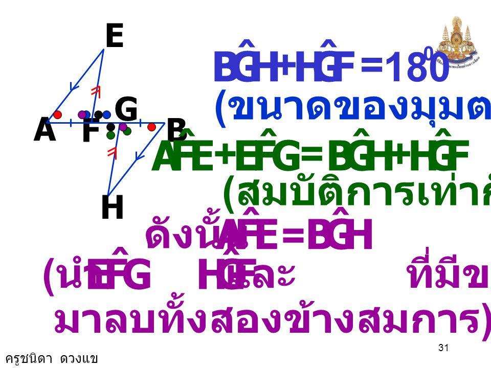ครูชนิดา ดวงแข 30 A B G F E H เนื่องจาก FE // HG ( กำหนดให้ ) GFE ˆ = FGH ˆ ( เส้นตรงสองเส้นขนานกันและมีเส้น ตัด แล้วมุมแย้งมีขนาดเท่ากัน ) ( ขนาดของม