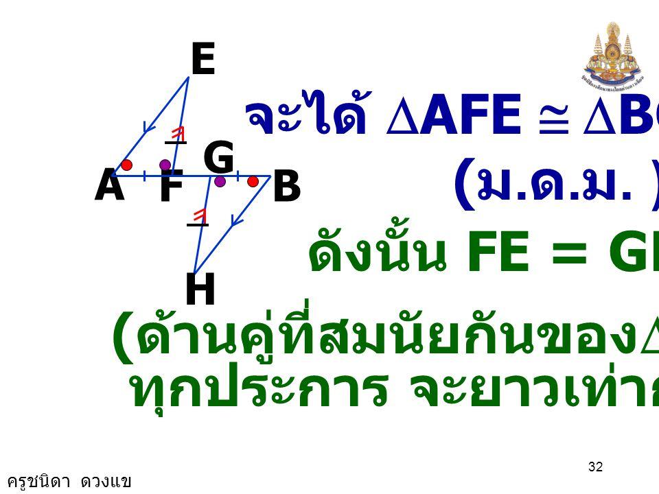 ครูชนิดา ดวงแข 31 A B G F E H ( ขนาดของมุมตรง ) HGB ˆ FGH ˆ += 180 0 EFA ˆ GFE ˆ += HGB ˆ FGH ˆ + ( สมบัติการเท่ากัน ) EFA ˆ = HGB ˆ ดังนั้น ( นำ และ